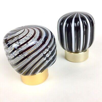 Vtg Italian Murano Glass Shower Sink Vanity Faucet Knobs Decorative Black White 5
