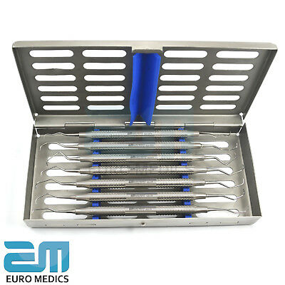 Set Of 7 Dental Clinical Gracey Curettes Periodontal Tools With Cassette FREE 2