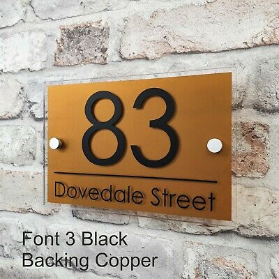Contemporary House Sign Address Plaques Door Number Name Plates Personalised 11