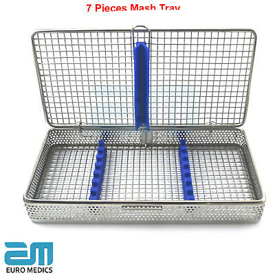 Perforated Mesh Tray 7 Pieces Sterilization Rack Cassette Dentist Surgical Tools