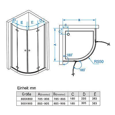 duschkabine runddusche duschabtrennung echtglas viertelkreis faltt r 80x80 90x90 eur 235 99. Black Bedroom Furniture Sets. Home Design Ideas