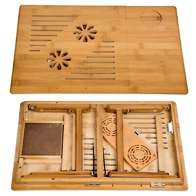 Table de lit pliable pour PC portable notebook tablet bambou + USB ventilateur 10