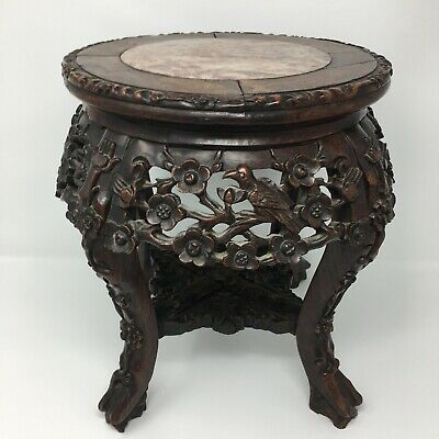 c1860 Carved Rosewood Plant Stand Marble Top Antique Wood Table Birds Flowers 3