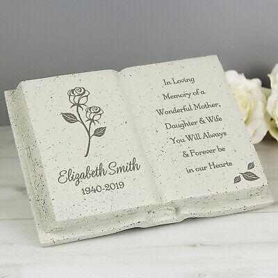 Personalised Memorial Book / Bible Plaque Garden Grave Ornament Cross Rose 3