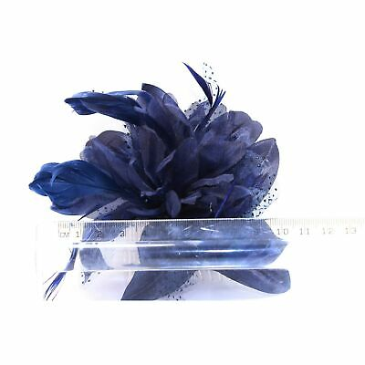Navy blue fascinator comb with chiffon flower and feather tendrils 2