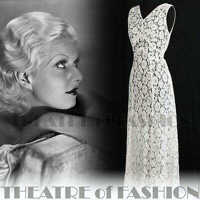 DRESS 30s WEDDING LACE JACKET 20s VINTAGE 40s GATSBY DECO CROCHET GODDESS ICON 4