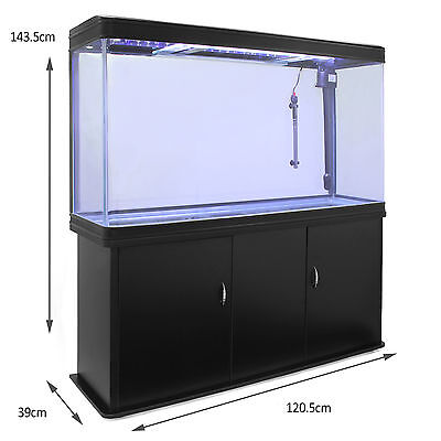 Fish Tank Aquarium Complete Set Up Tropical Marine Black Cabinet 4ft 300 Litre 5