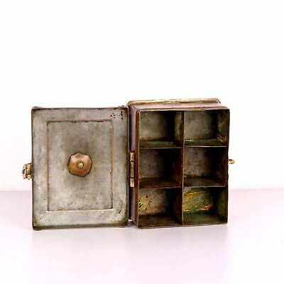 Antique Brass Miniature Collectible Mughal Style Betel Nut Box With Lock System 4