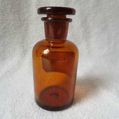 alte Apothekerflasche Braunglas mit Schliff-Stopfen Ol. Sinapis Separanda Senföl 3