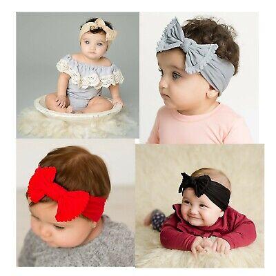 Baby Girls Bow Bun Turban Headband Hair band Head Wrap Cute Kids Plain Stretch 2