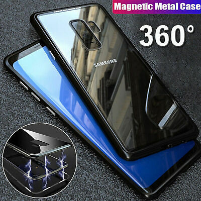 For Samsung S10//S9/S8 Note10 Plus 8/9 Magnetic case Metal Tempered Glass Cover 3