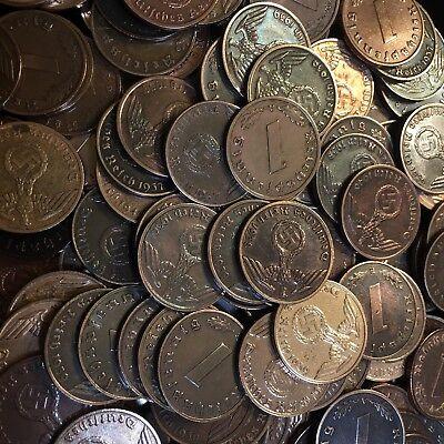 50 Coin Lot Rare WW2 German 1 RP Reichspfennig 3rd Reich Bronze Nazi Coins 6