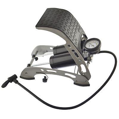Car Bicycle Foot Pump Air Tyre Inflator Double Barrel Foot pump 0-100psi TE032 2