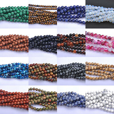 Wholesale Natural Gemstone Round Charm Loose Spacer Loose Beads 4MM 6MM 8MM 10MM 5