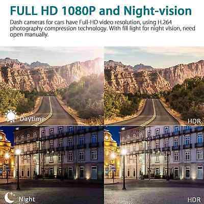 "1080P 4""Car DVR Dual Lens Dash Cam Front and G-sensor Rear Video Recorder Camera 7"
