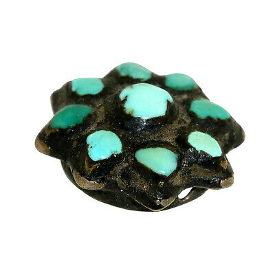 (2566) Antique Tibetan turquoises set in silver 5