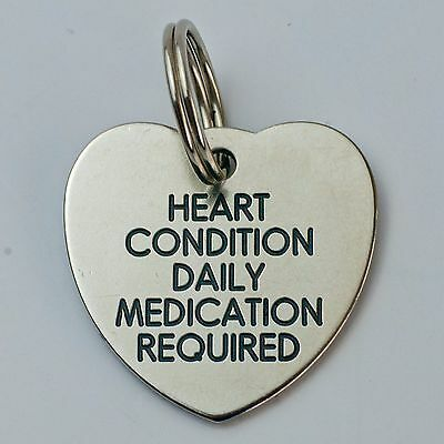 Quality Engraved Pet tag -Large 30mm Heart Nicron tag 2
