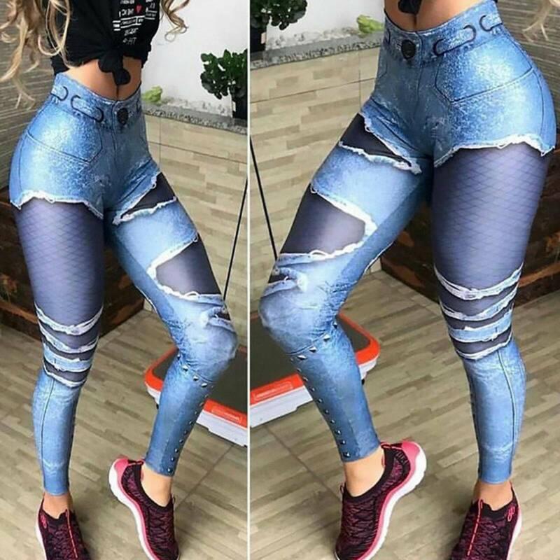 Damen Leggings Stripe Sport Yoga Fitness Leggins Legging Jogginghose Hose SMLXL 4