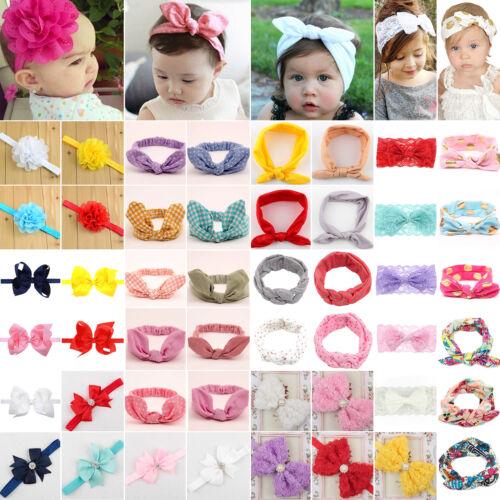Newborn Infant Headband Ribbon Elastic Baby Headdress Kids Girl Bow Hair Band 2