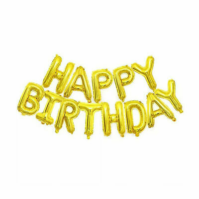 Happy Birthday Balloon Banner Bunting Self Inflating Letters Foil Balloons Party 6