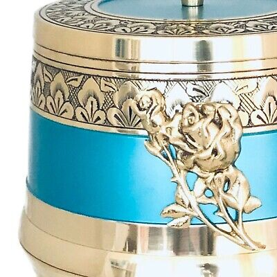Well Lived® Aqua Blue Brass Adult Cremation Urn for human ashes 2