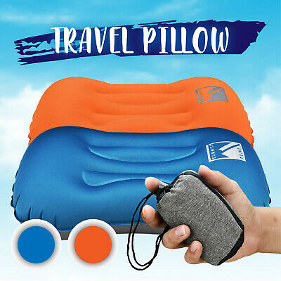 Air Pillow Inflatable Cushion Portable Head Rest Compact Travel Camping w/ Pouch 2