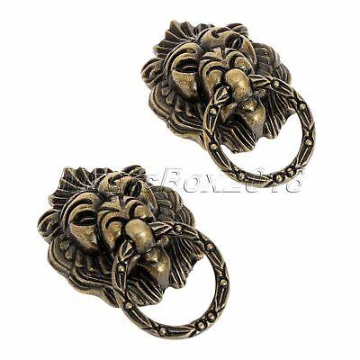 6x Vintage Brass Lion Head Drawer Cupboard Cabinet Dresser Ring Pull Handle Knob 4