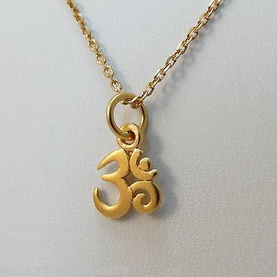 Tiny Om Symbol Charm Necklace Rose Gold Plated Sterling Silver Ohm Spiritual