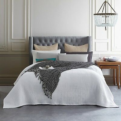 New Premium 100% Cotton 350gsm Large Waffle Blanket Bedspread Bed Throw Rug 2