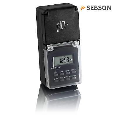 2x Zeitschaltuhr digital programmierbar Außen IP44, Wochentimer 24h Timer SEBSON 2