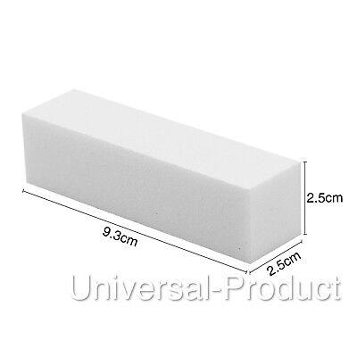 White Acrylic Nail Buffer Buffing Sanding Block Files Salon Art |UK SELLER| 3