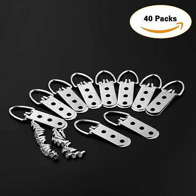 20/40Pcs 64*23mm Heavy Duty D-Ring Picture Hangers Frame Hanging 3 Hole + Screws 4