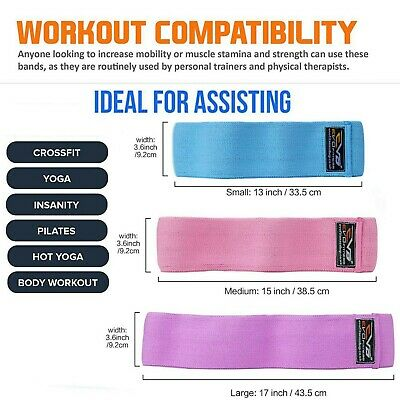 EVO Ladies Fabric Resistance Bands Elastic Exercise & Expanders HIP CIRCLE Glute 2