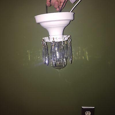 Beautiful Unique Flush Mount Bathroom Hallway Fixture Vintage Antique Prisms 3