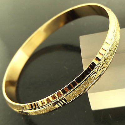 Bangle Bracelet Real 18k Yellow G/F Gold Solid Antique Engraved Cuff Design 2