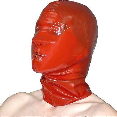 LATEX Maske mit vielen Löchern in rot * transparent glänzend* rubber Gummi Haube 3