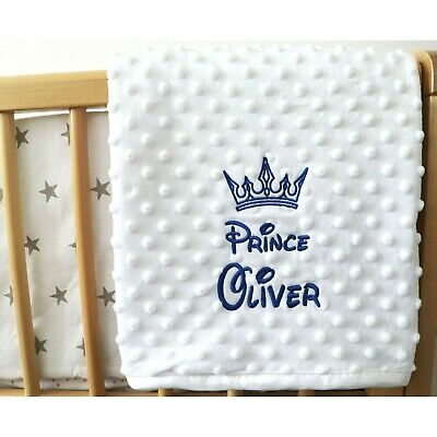 Personalised Baby Blanket Luxury White Bubble Style Blue Font Disney Prince Gift 2