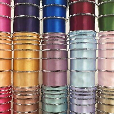 250 OPTIONS Beautiful Double Sided Satin Ribbon 3mm-50mm Wide Plain Cut Per 1M 2
