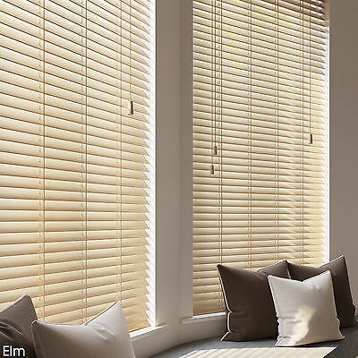 WOODEN VENETIAN REAL WOOD BLINDS - 25,35 & 50mm SLAT SIZES - CHILD SAFE BLIND 2