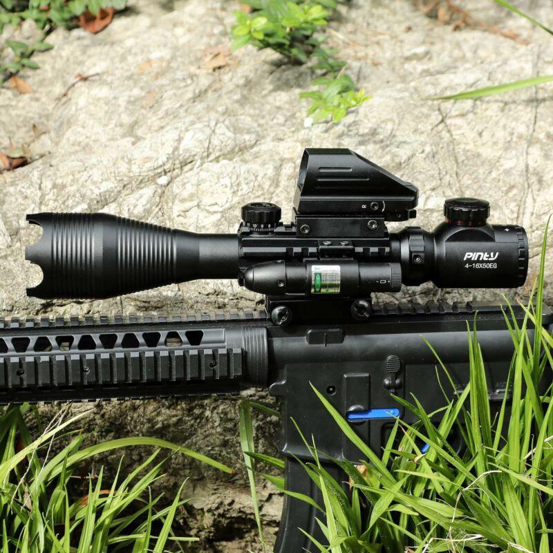 4-16x50 3in1 Combo Rangefinder Rifle Scope W/Green Laser &Reflex Dot Sight Scope 3