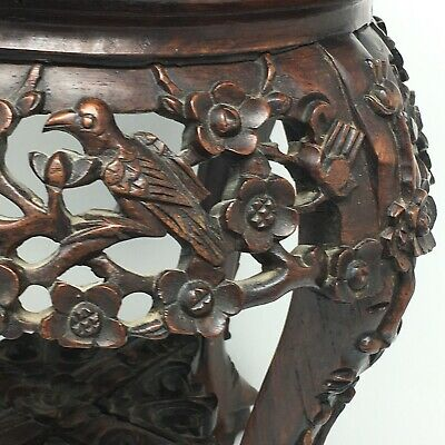 c1860 Carved Rosewood Plant Stand Marble Top Antique Wood Table Birds Flowers 2