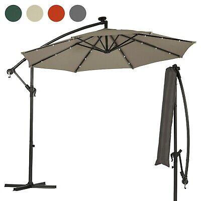 Garden Gear Cantilever Banana Sun Shade LED Parasol Patio 2.7m Hanging Umbrella 3