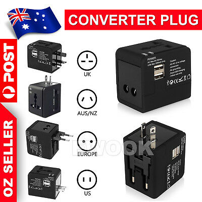 Universal Travel Adapter Dual 2 USB Plug Charger AC Power UK US EU AU 2
