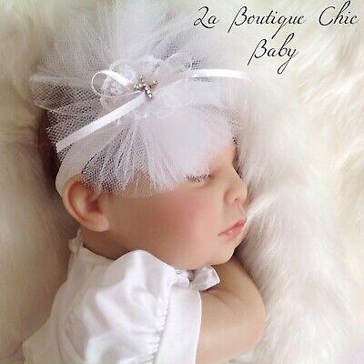 Baby Christening/Baptism White/Ivory Tulle Headband or Hairclip Flower Girl Prop 2