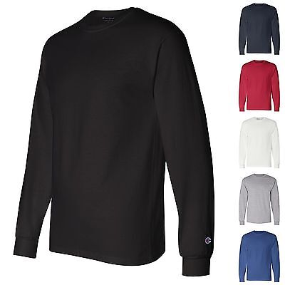 Champion NEW CC8C Mens Size S-2XL Long Sleeve Tagless Cotton Gym Workout T-Shirt 12