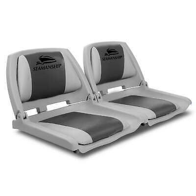 2X Folding Boat Seats Seat Marine Seating Set All Weather Swivel 12