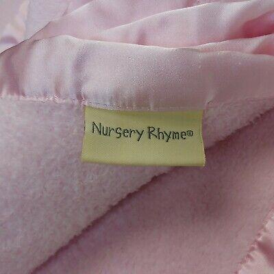 Nursery Rhyme Baby Blanket Pink Fleece w/ Satin Edge Harper 4