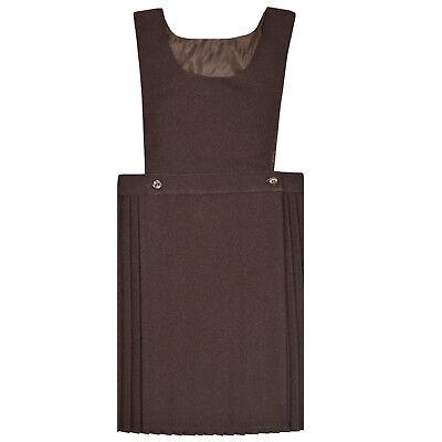 Girls Kids School Pleated Plain Bib Pinafore Dress Uniform Age 2-18 Black Grey 3