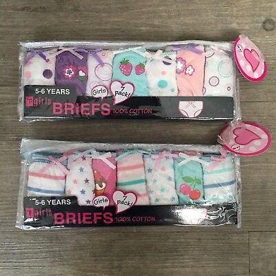 7 x Pairs Girls Flamingo Unicorn Knickers Briefs Underwear 100% Cotton Age 2 - 6 2