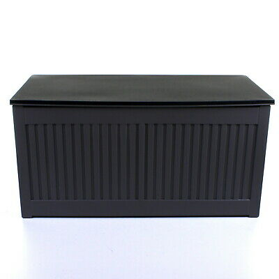 270L Grey Garden Storage Box Outdoor Plastic Utility Cabinet Shed Chest Cushion 3
